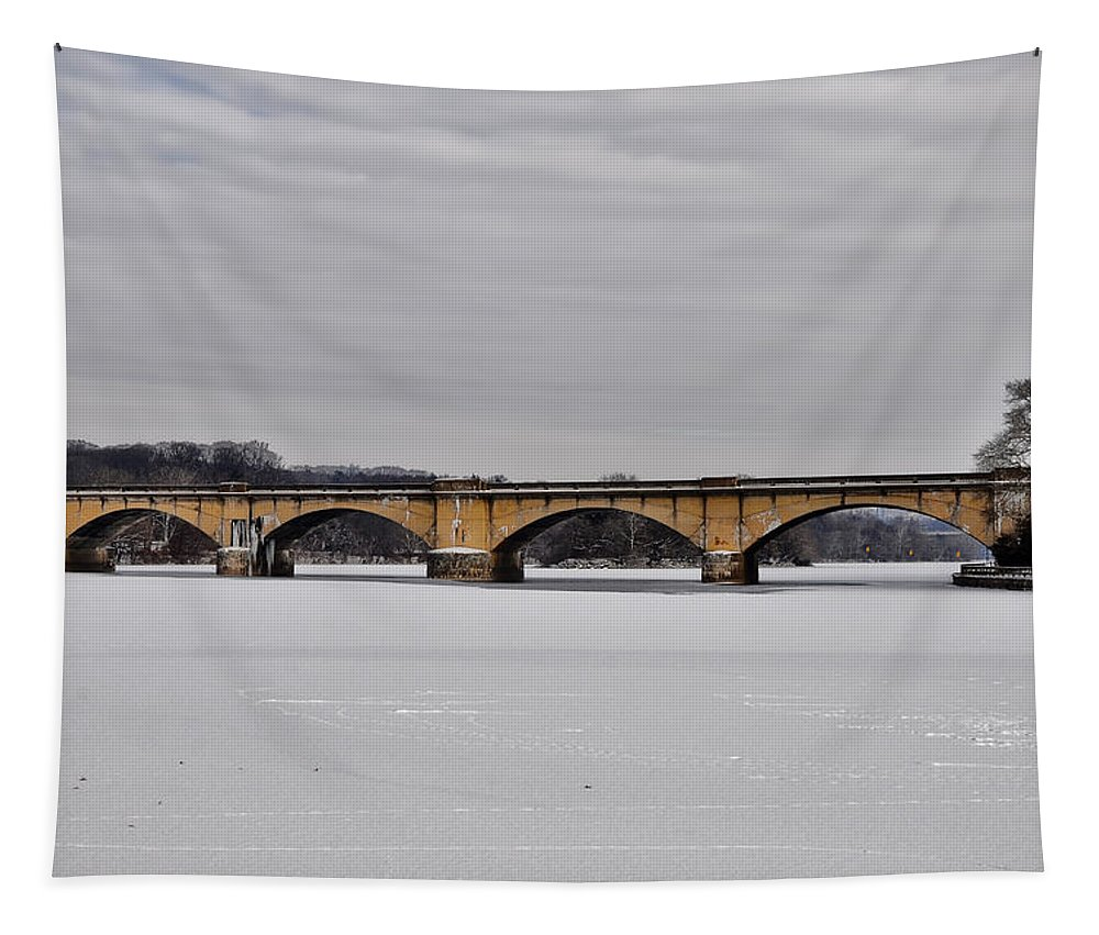 Railroad Tapestry featuring the digital art Railroad Bridge Over The Schuylkill River by Bill Cannon