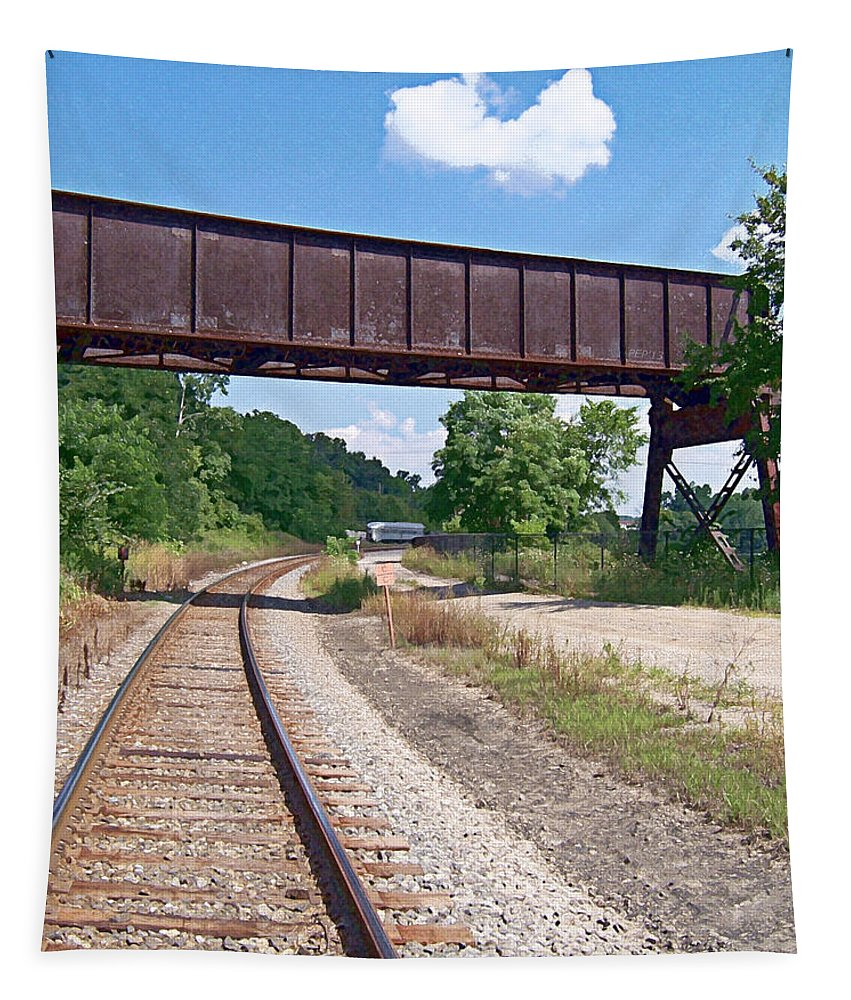 Railroad Tapestry featuring the photograph Railroad Train Tracks And Trestle by Phil Perkins