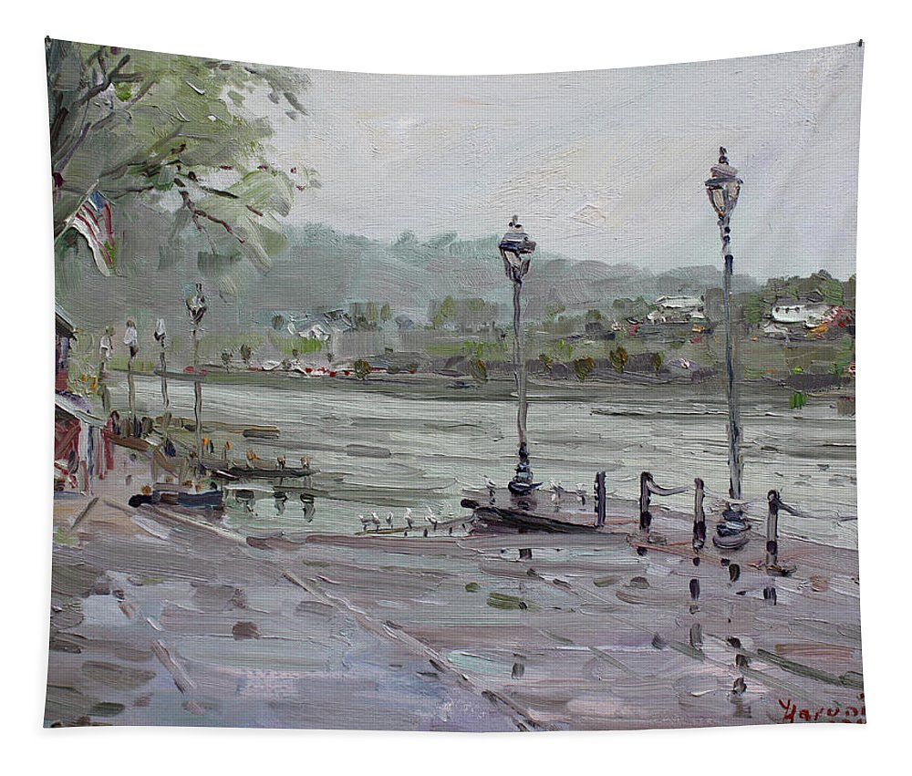 Lewiston Waterfront Tapestry featuring the painting Rain In Lewiston Waterfront by Ylli Haruni