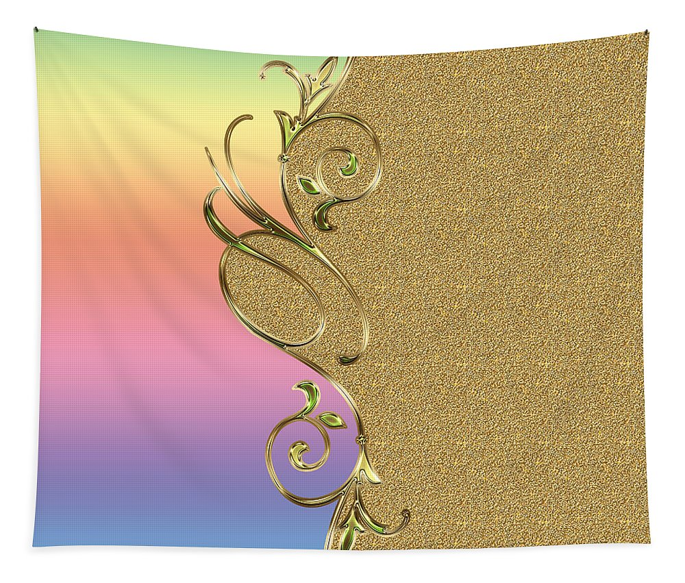 Warm Rainbow Colors Tapestry featuring the painting Rainbow And Gold by Georgeta Blanaru