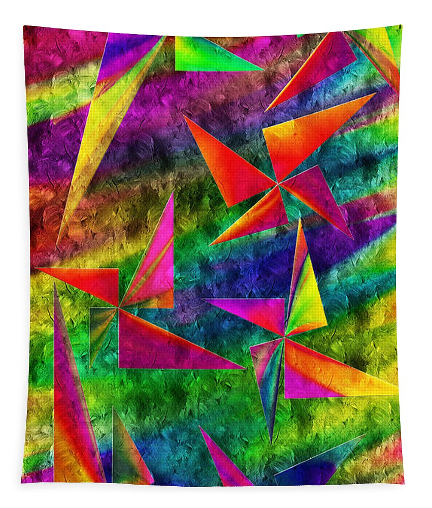 Abstract Tapestry featuring the digital art Rainbow Bliss - Pin Wheels - Painterly - Abstract - V by Andee Design