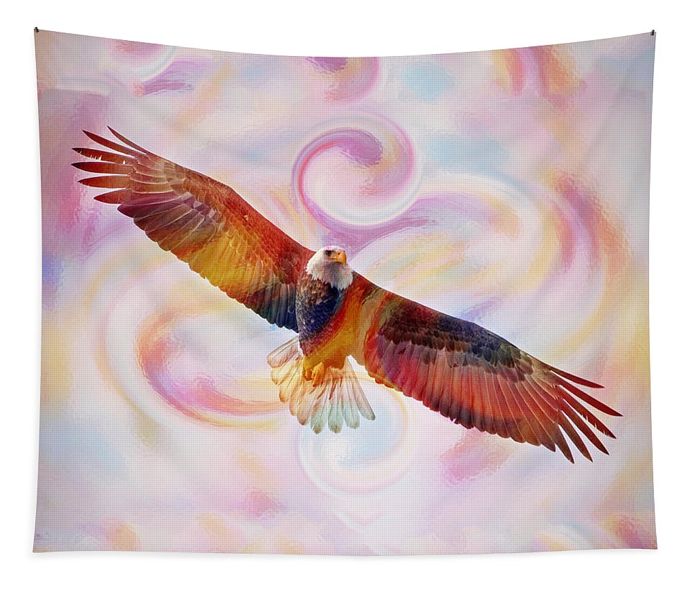Bald Eagle Tapestry featuring the painting Rainbow Flying Eagle Watercolor Painting by Georgeta Blanaru