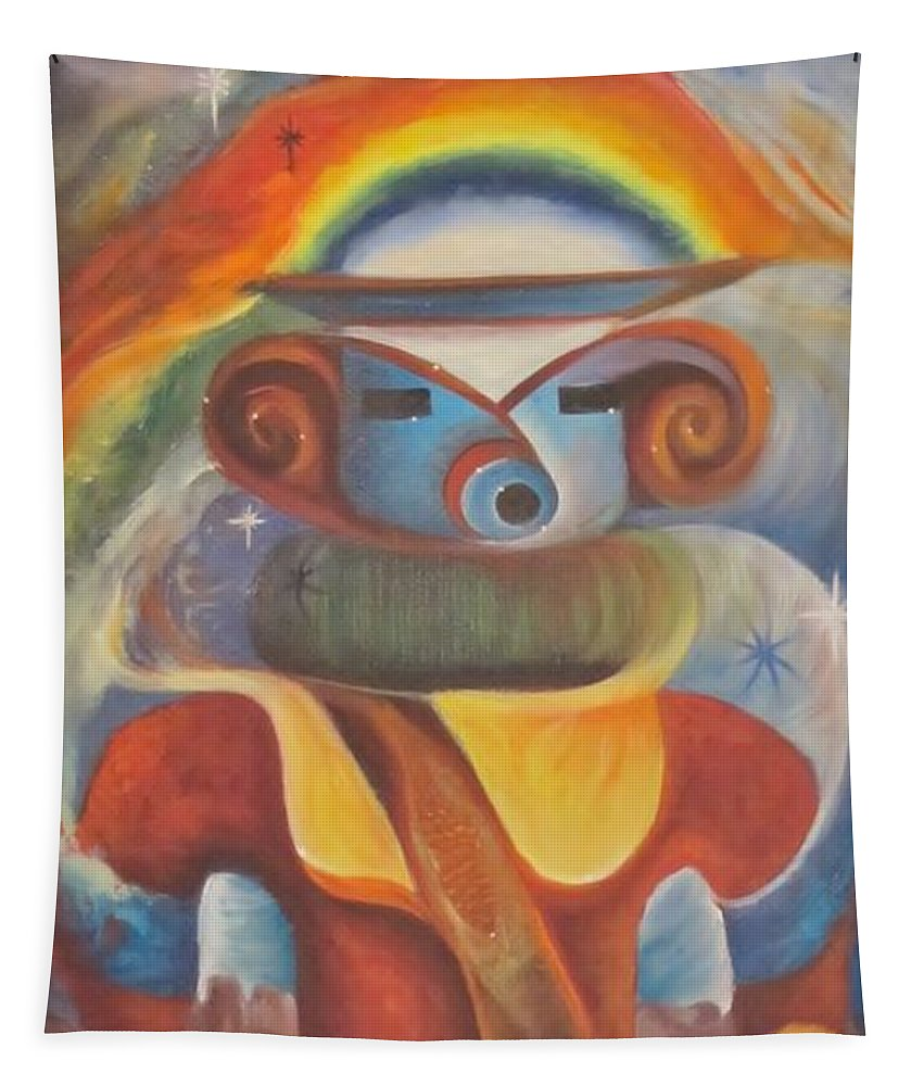 Kachina Tapestry featuring the painting Rainbow Kachina by Sherry Strong