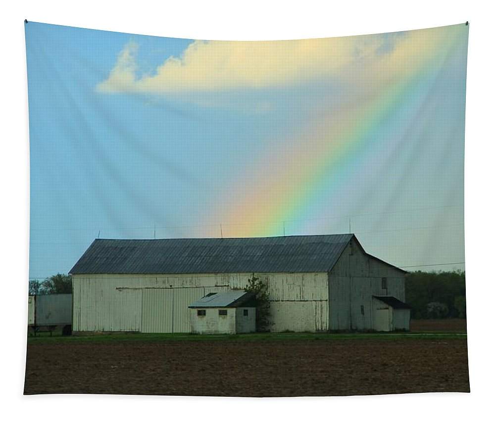 Rainbow On The Farm Tapestry featuring the photograph Rainbow On The Farm by Dan Sproul