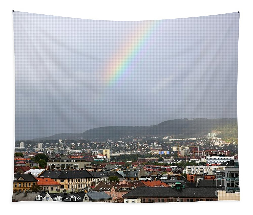 Oslo Tapestry featuring the photograph Rainbow Over Oslo by Carol Groenen