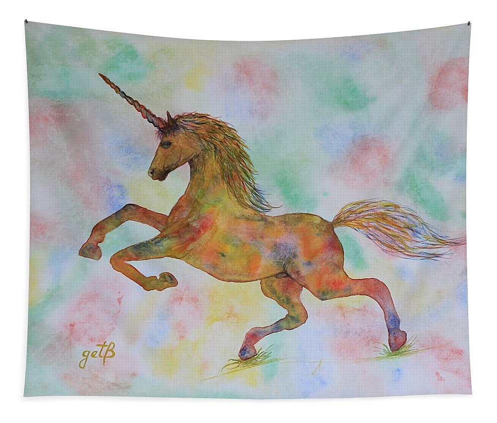 Unicorn Tapestry featuring the painting Rainbow Unicorn In My Garden Original Watercolor Painting by Georgeta Blanaru
