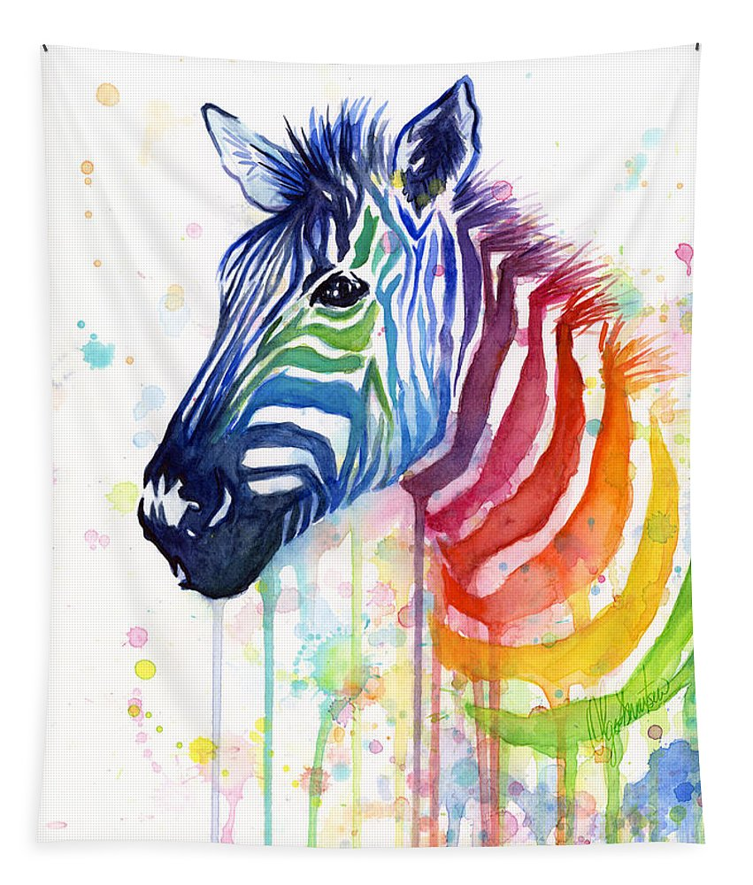 Rainbow Tapestry featuring the painting Rainbow Zebra - Ode to Fruit Stripes by Olga Shvartsur