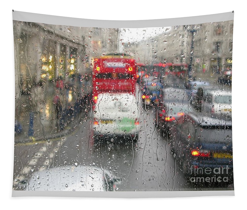 London Tapestry featuring the photograph Rainy Day London Traffic by Ann Horn