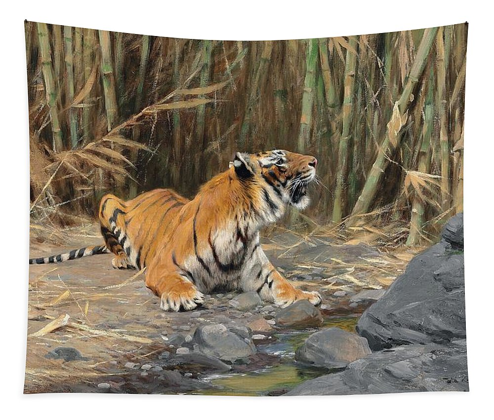 Tiger Tapestry featuring the painting Raising His Voice by Wilhelm Kuhnert