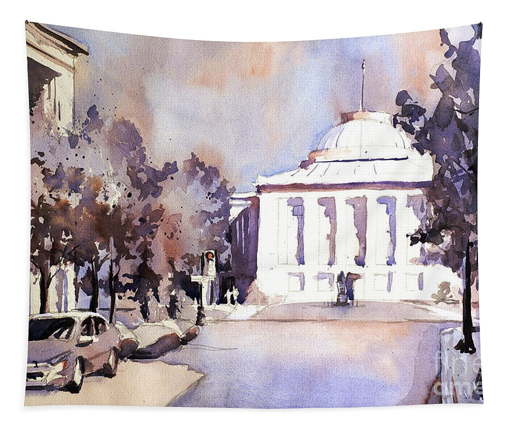 Art Society North Carolina Tapestry featuring the painting Raleigh Capital- Plein Air by Ryan Fox