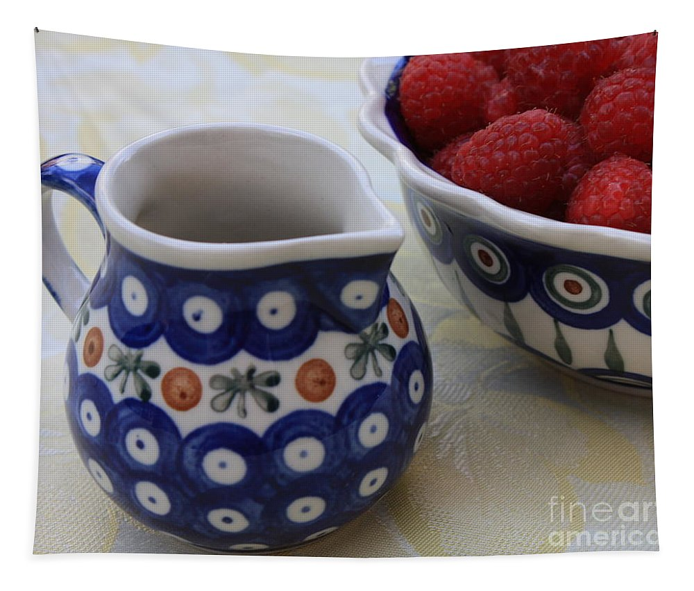 Raspberries Tapestry featuring the photograph Raspberries With Cream by Carol Groenen