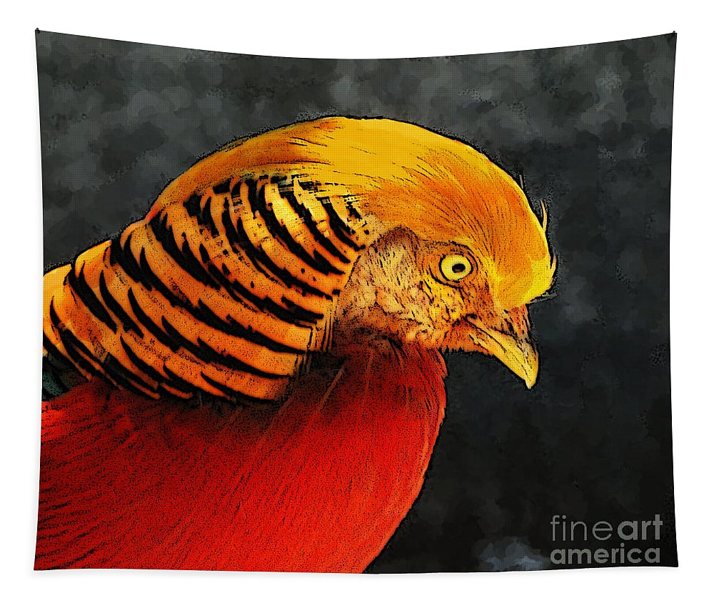 Bird Tapestry featuring the photograph Read And Yello Bird by Ben Yassa