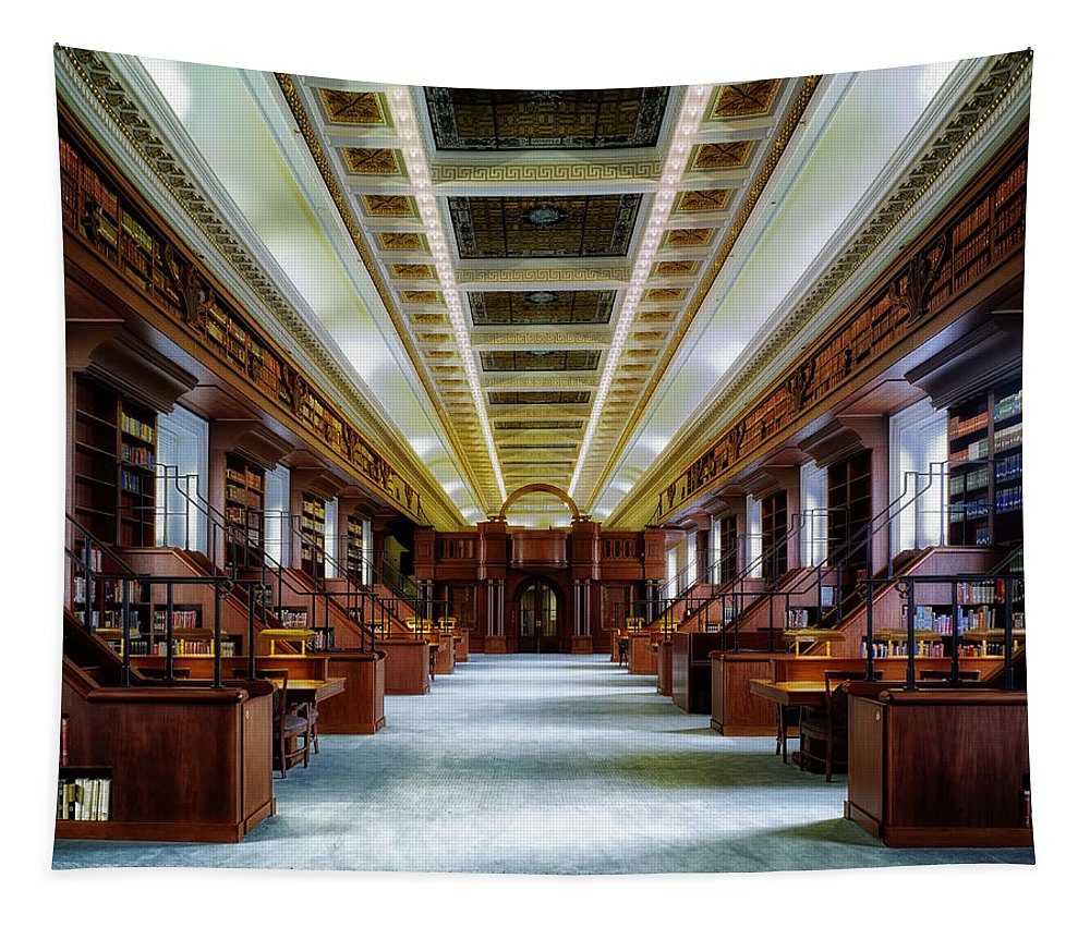 Reading Room Tapestry featuring the photograph Reading Room In The Library Of Congress by Mountain Dreams