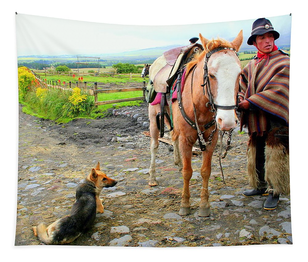 Horse Tapestry featuring the photograph Ready To Ride Horseback In The Andes by Laurel Talabere