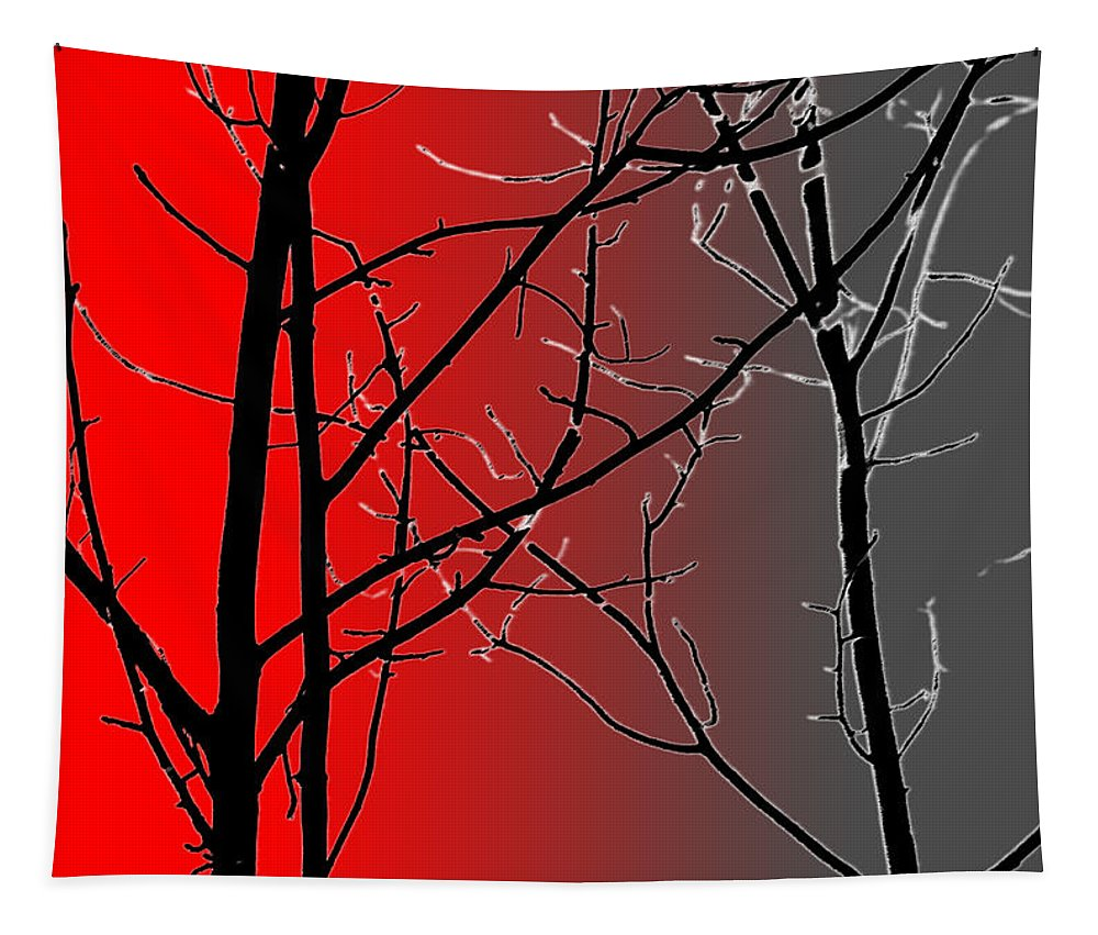 Branches Tapestry featuring the photograph Red And Gray by Cynthia Guinn