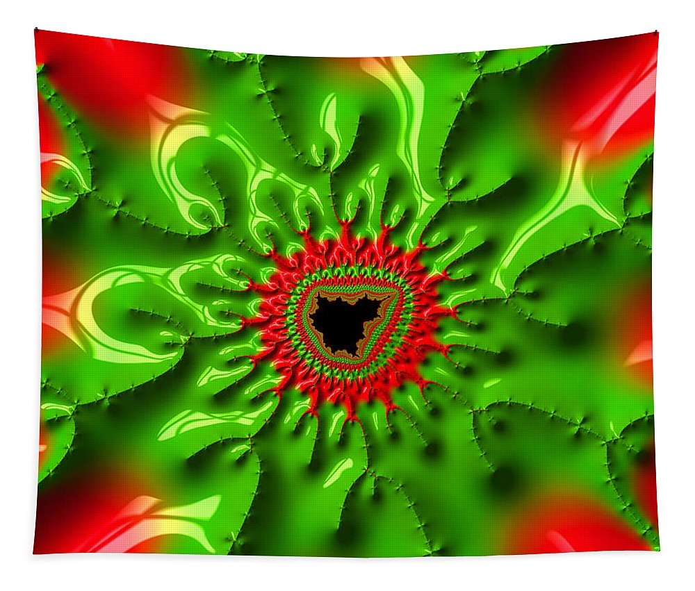 Red Tapestry featuring the photograph Red And Green Abstract Fractal Art by Matthias Hauser