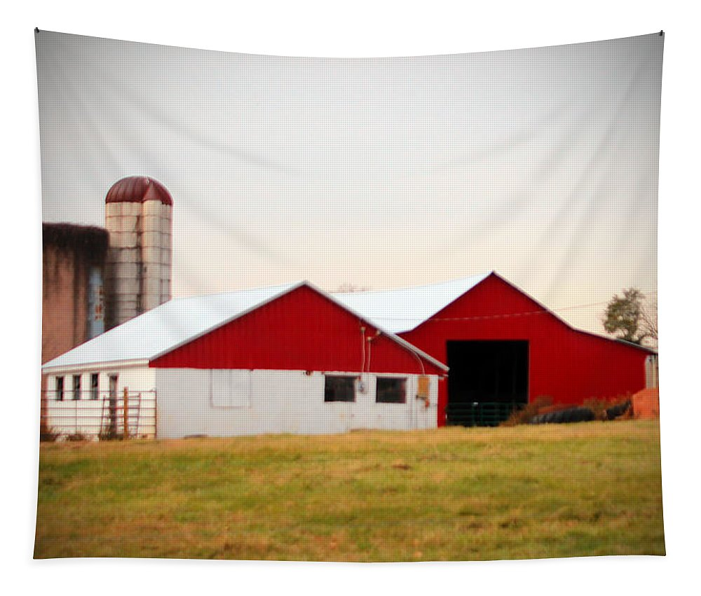 Barn Tapestry featuring the photograph Red And White Barn by Cynthia Guinn