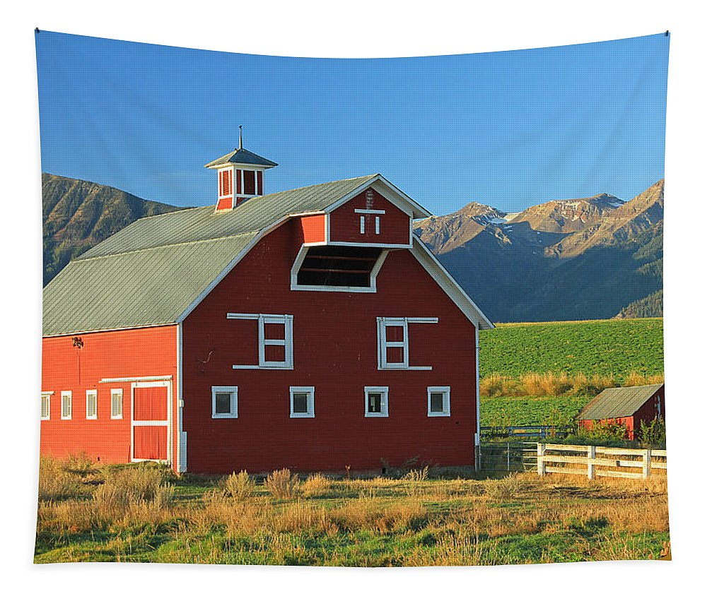 Fall Colors Tapestry featuring the photograph Dn5939-red Barn In The Wallowas by Ed Cooper Photography