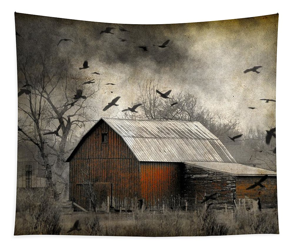 Countryside Tapestry featuring the photograph The Old Red Barn by Gothicrow Images