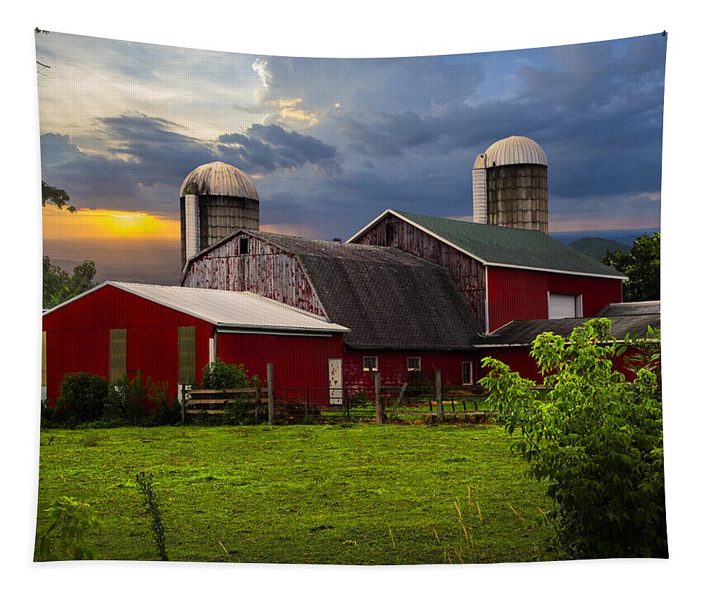 Appalachia Tapestry featuring the photograph Red Barns by Debra and Dave Vanderlaan