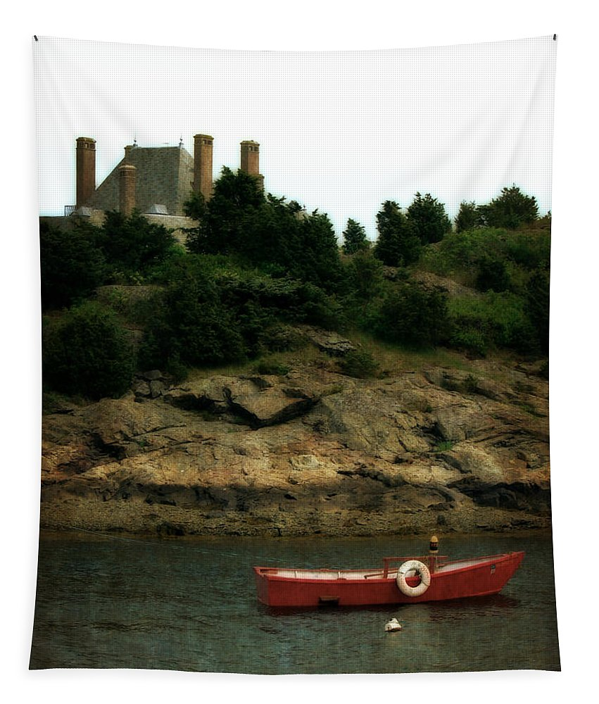 Life Saver Tapestry featuring the photograph Red Boat In Newport by Michelle Calkins