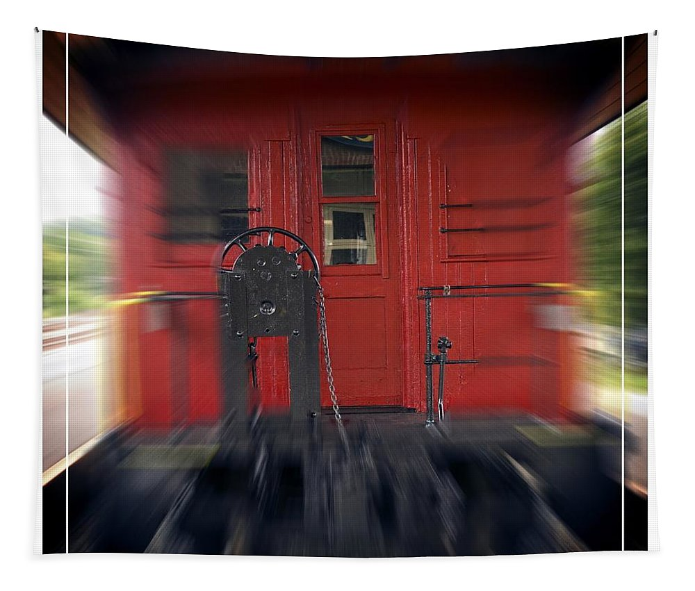 Motion Tapestry featuring the photograph Red Caboose by Edward Fielding