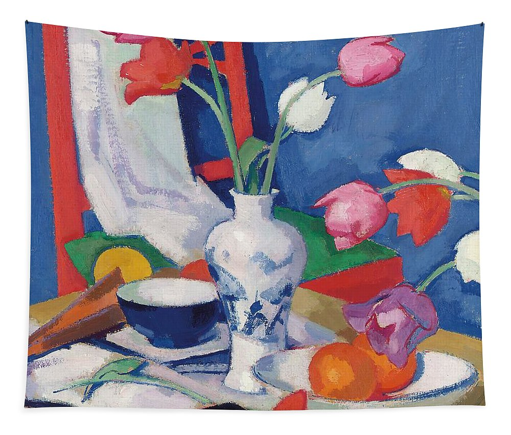 Still Life Tapestry featuring the painting Red Chair And Tulips, C.1919 by Samuel John Peploe