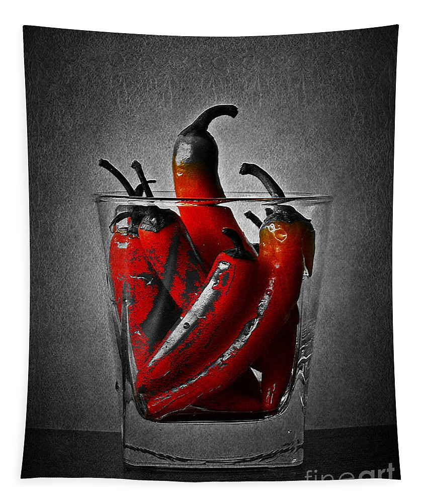 Red Tapestry featuring the photograph Red Chili Peppers by Binka Kirova