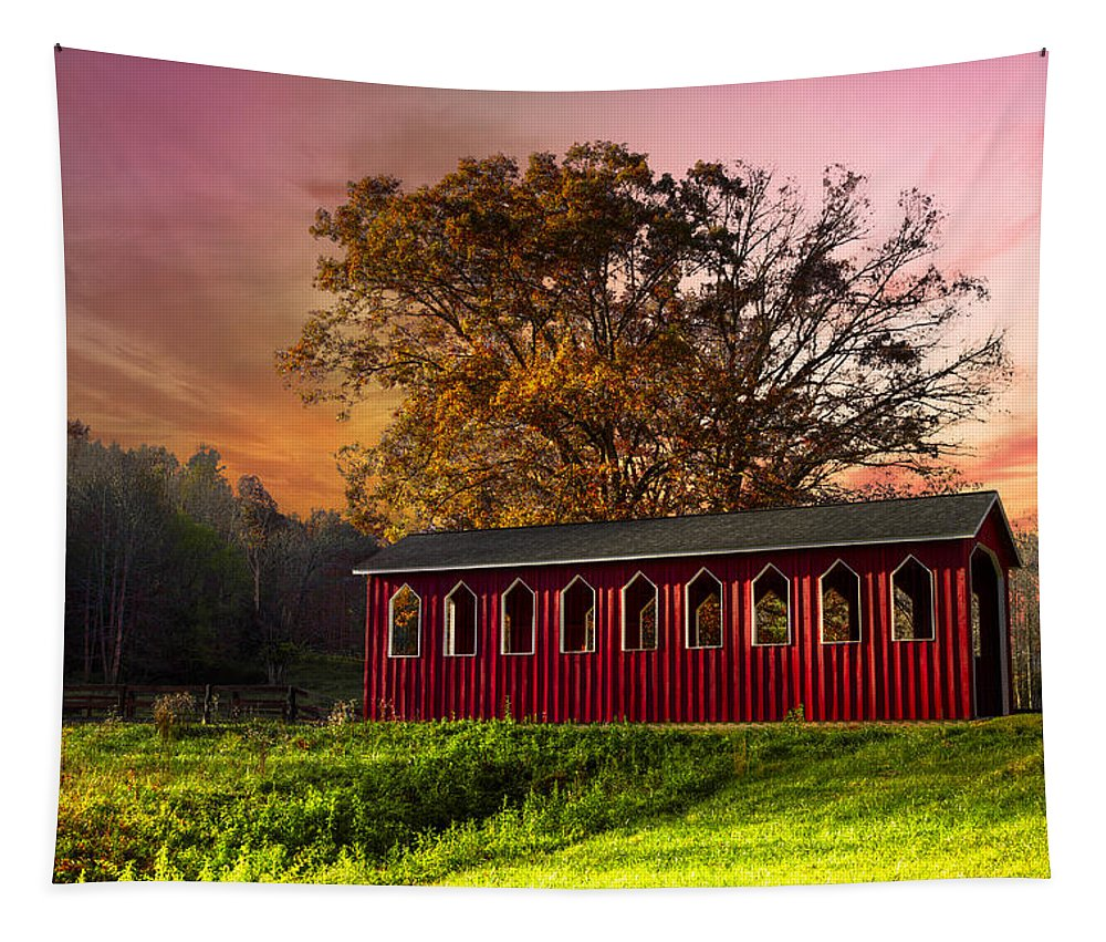 Appalachia Tapestry featuring the photograph Red Covered Bridge by Debra and Dave Vanderlaan
