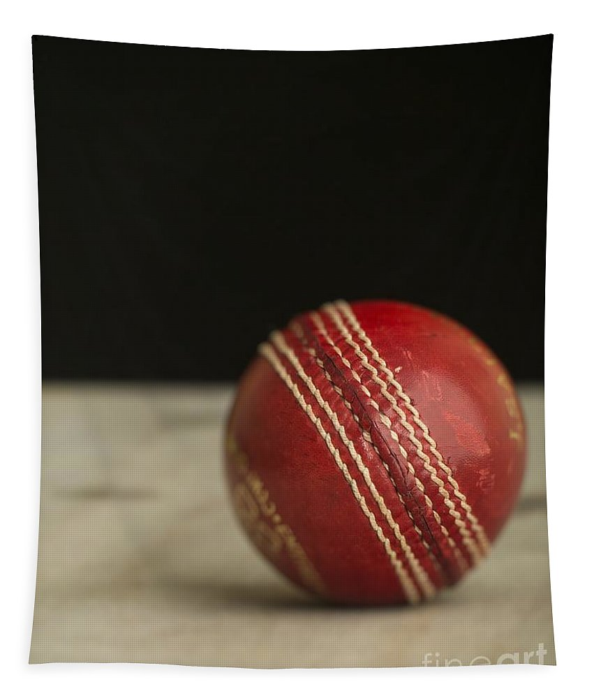 Cricket Tapestry featuring the photograph Red Cricket Ball by Edward Fielding