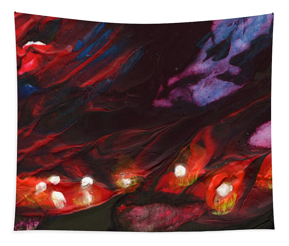 Fantasy Tapestry featuring the painting Red Demon With Pearls by Miki De Goodaboom