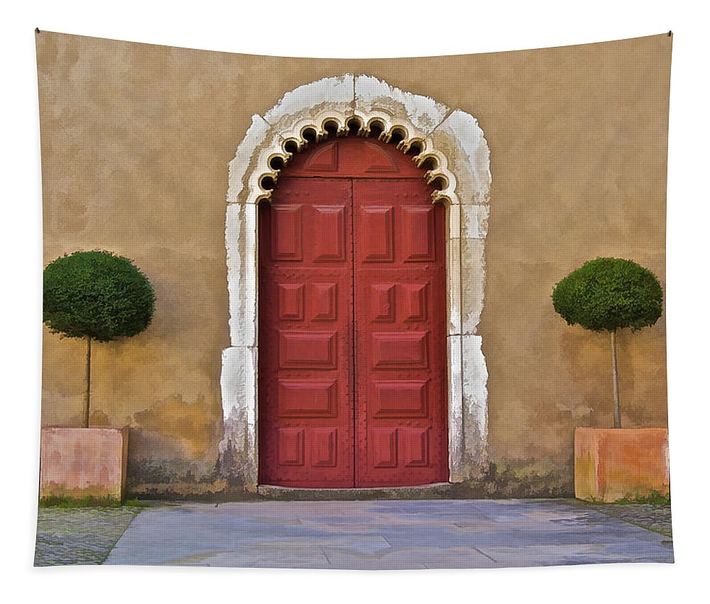 Abbey Tapestry featuring the photograph Red Door Of Caldas De Rainha by David Letts
