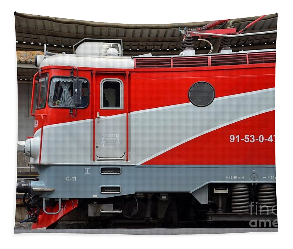 Train Tapestry featuring the photograph Red Electric Train Locomotive Bucharest Romania by Imran Ahmed