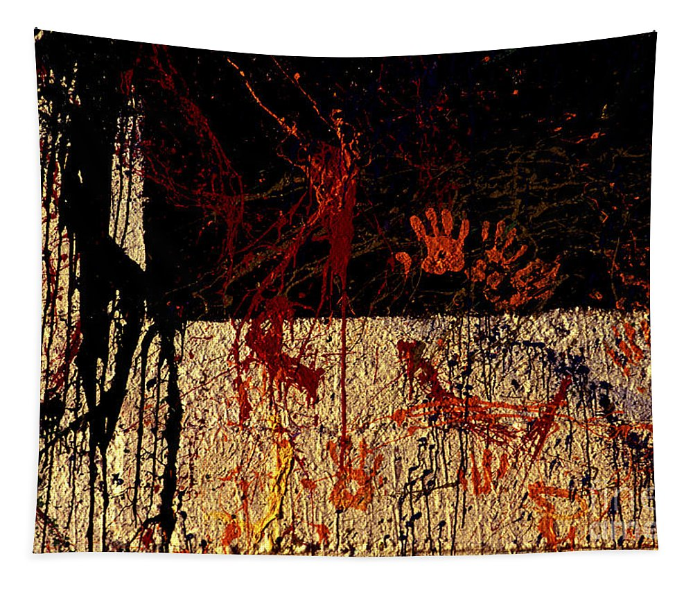 Graffiti Tapestry featuring the photograph Red Hands by Paul W Faust - Impressions of Light