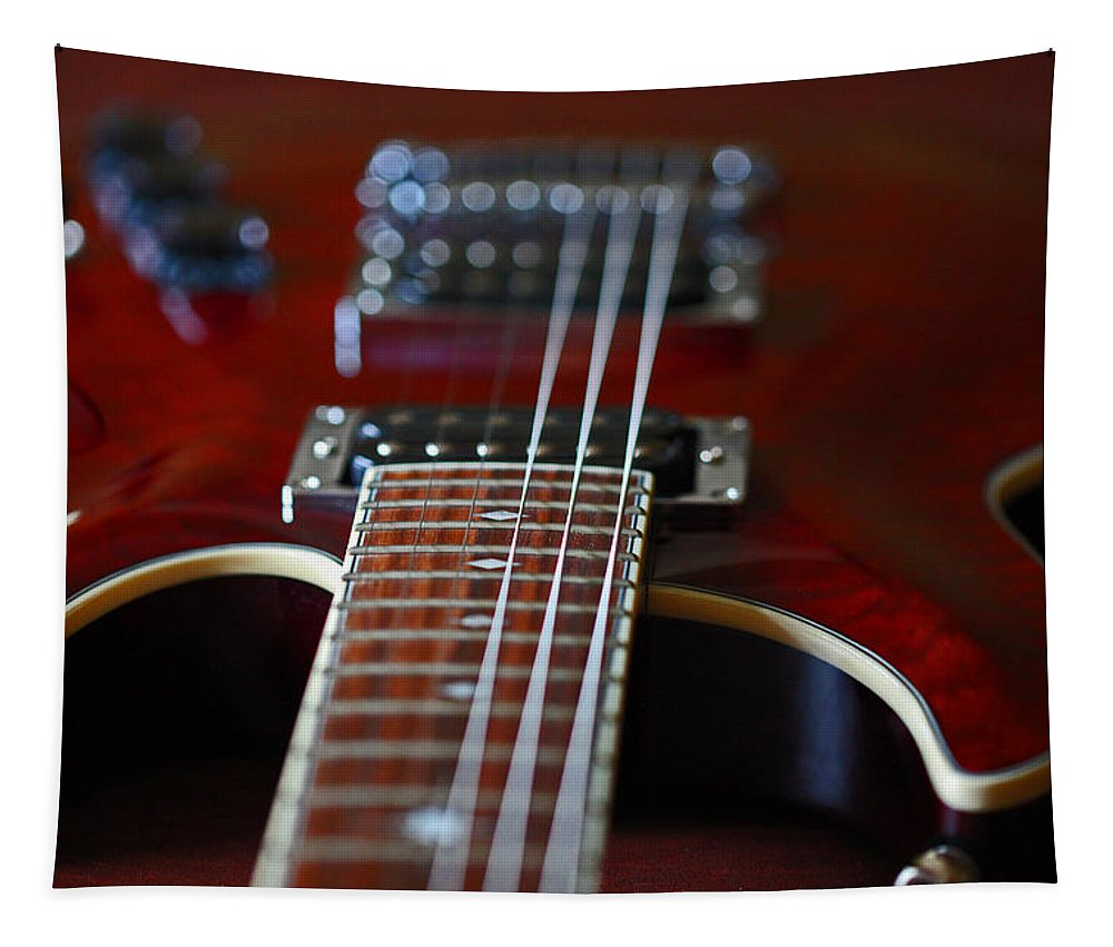 Guitar Tapestry featuring the photograph Red by Karol Livote