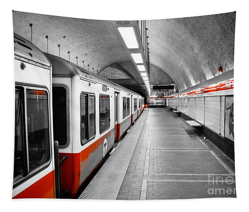 Red Tapestry featuring the photograph Red Line by Charles Dobbs