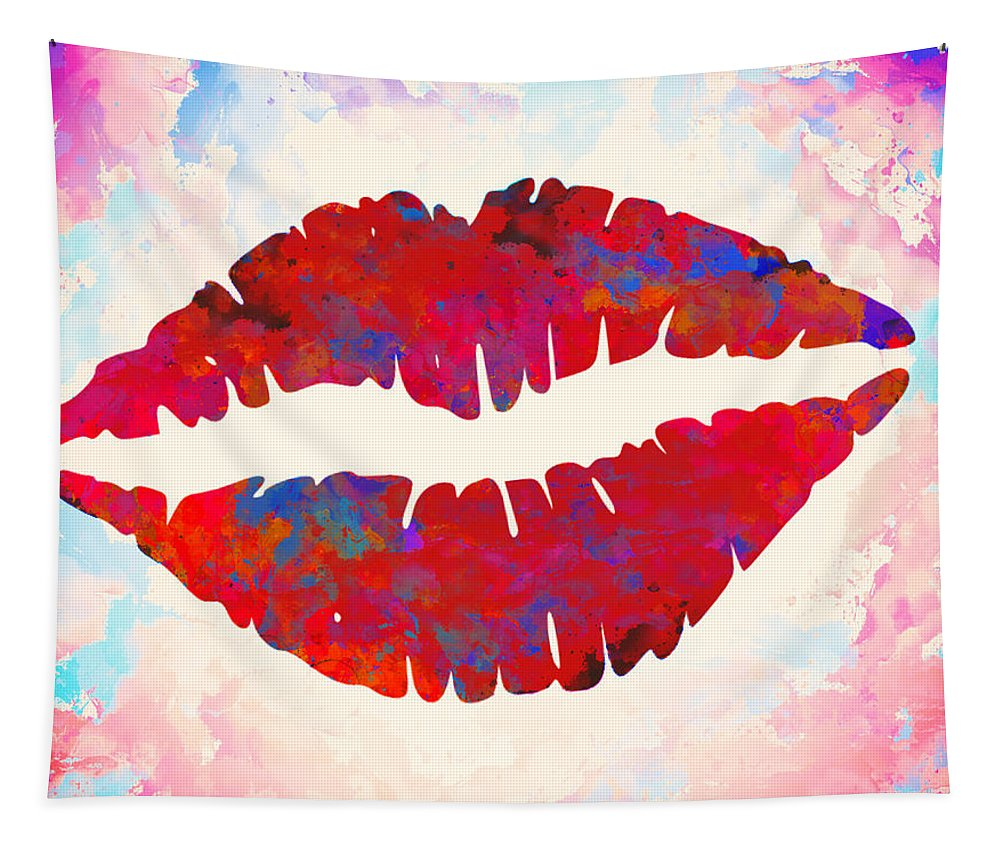 Lips Tapestry featuring the painting Red Lips Watercolor Painting by Georgeta Blanaru