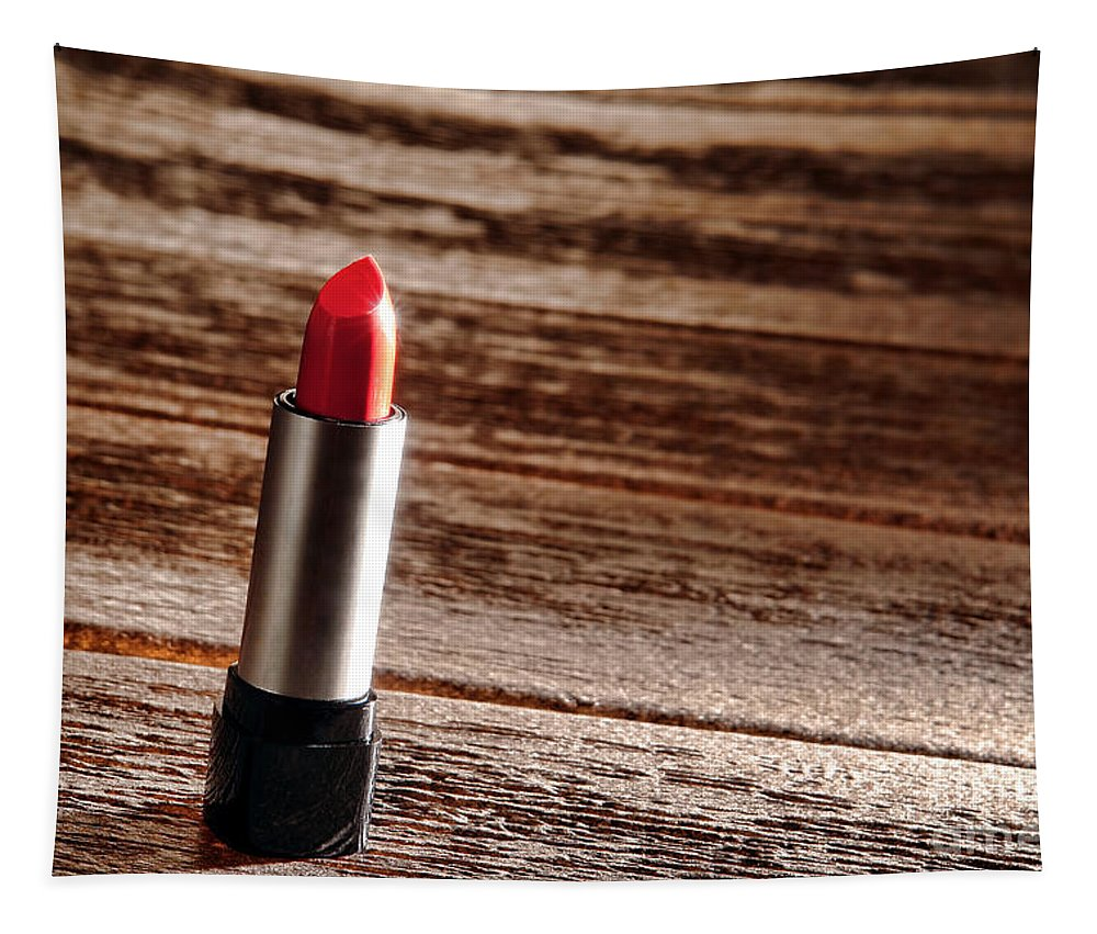 Lipstick Tapestry featuring the photograph Red Lipstick by Olivier Le Queinec