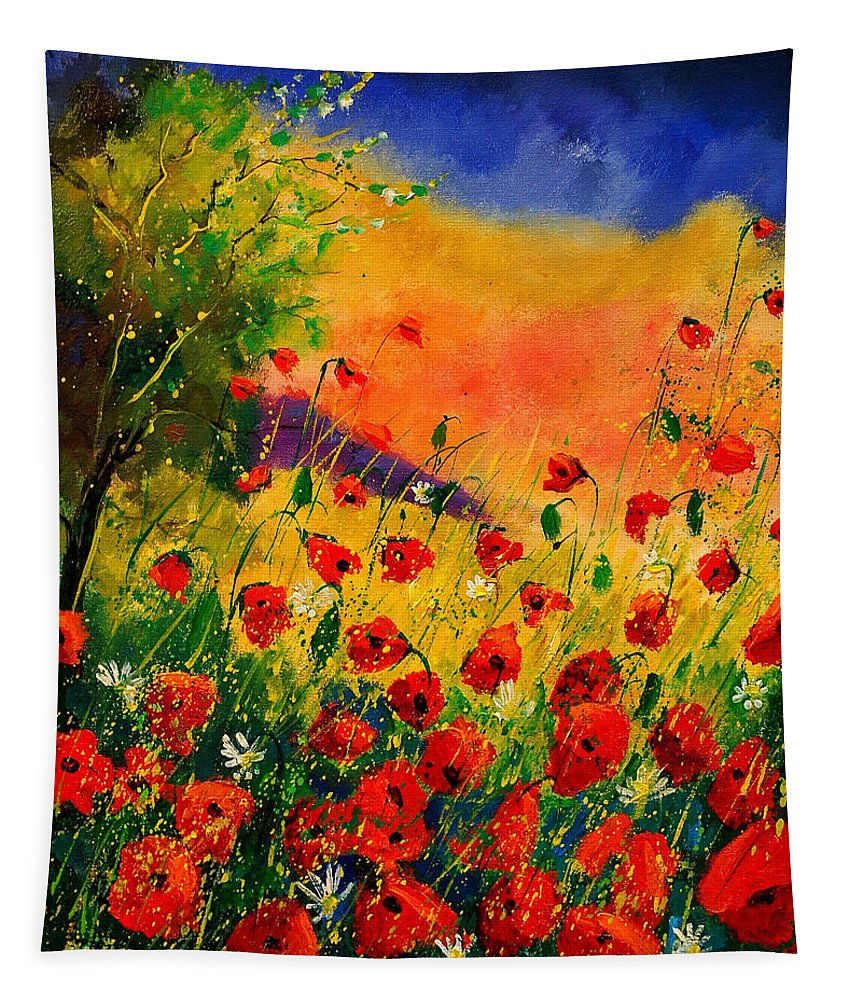 Poppies Tapestry featuring the painting Red Poppies 45 by Pol Ledent