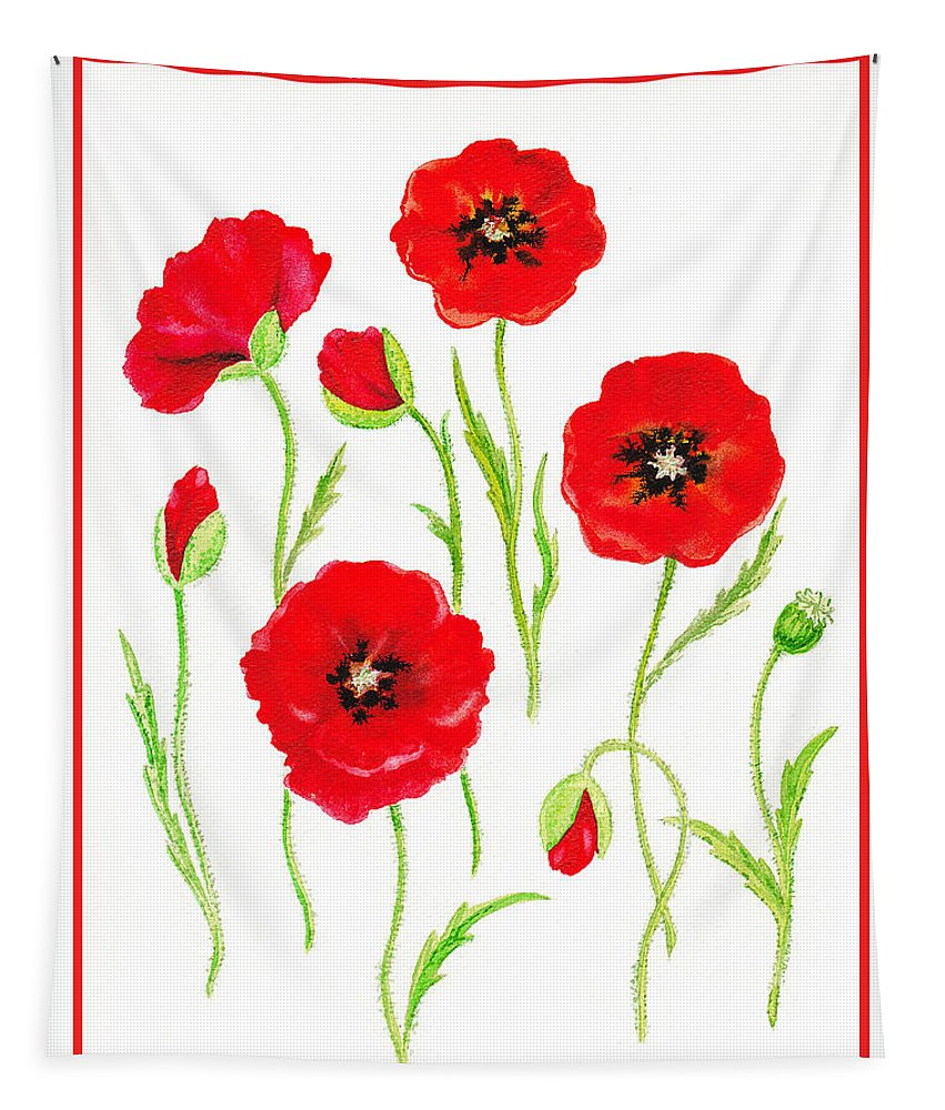 Poppies Tapestry featuring the painting Red Poppies by Irina Sztukowski