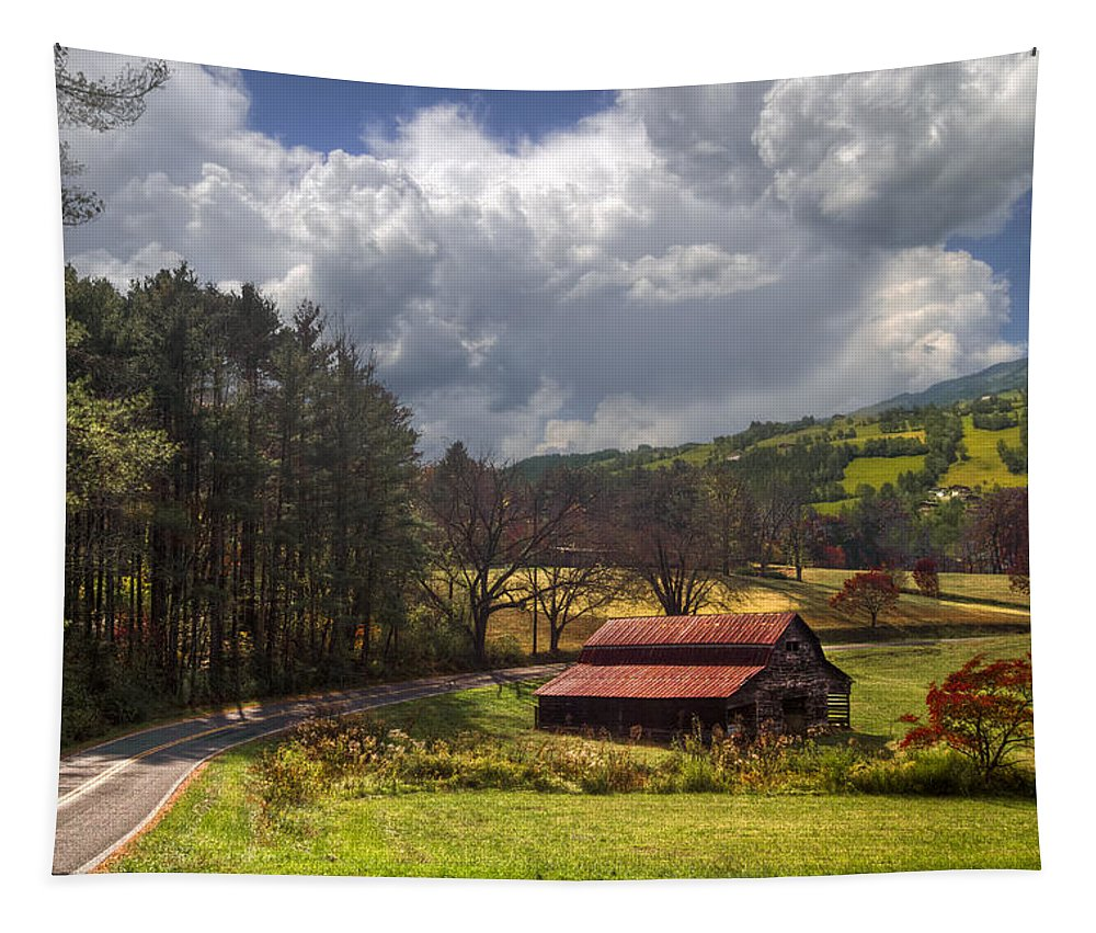 Appalachia Tapestry featuring the photograph Red Roof Barn by Debra and Dave Vanderlaan