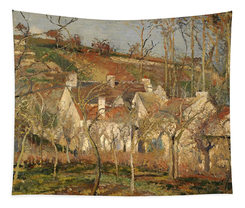 Painting Tapestry featuring the painting Red Roofs In A Village In Winter by Mountain Dreams