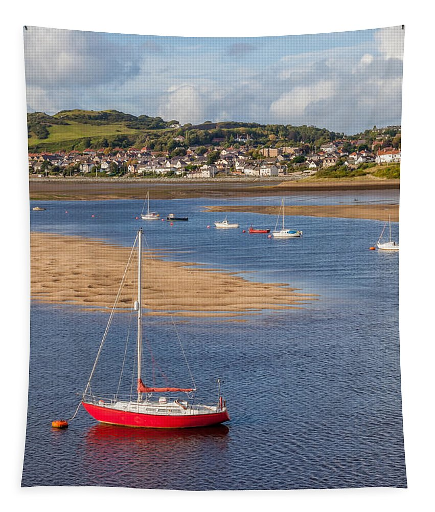 Cutter Tapestry featuring the photograph Red Sail Boat by Adrian Evans