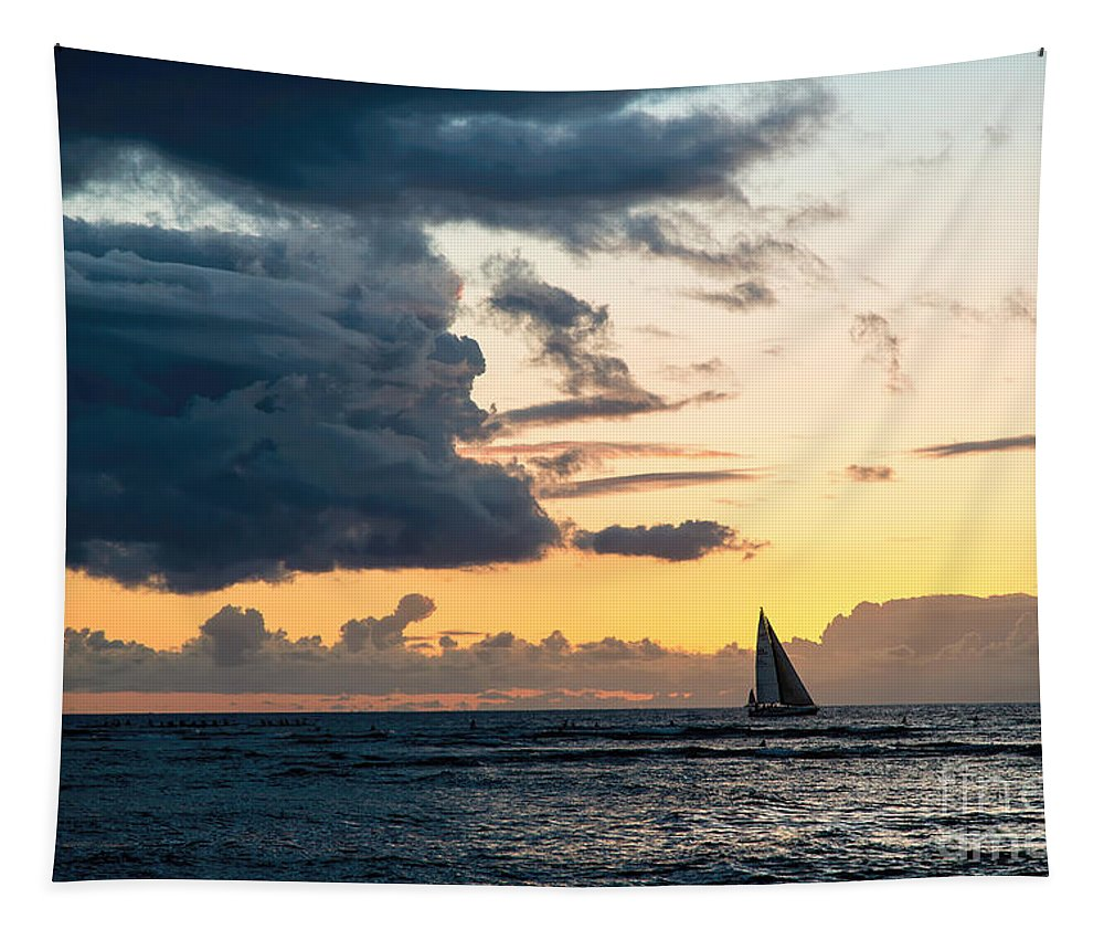 Pacific Ocean Tapestry featuring the photograph Sails In The Sunset by Jon Burch Photography
