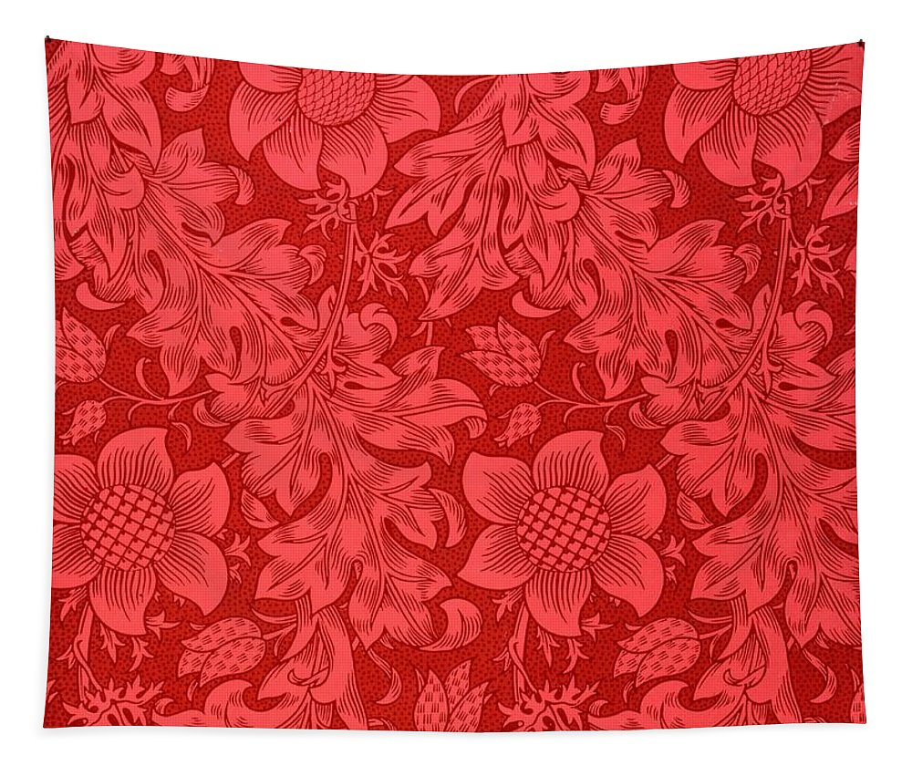 Red Sunflower Tapestry featuring the drawing Red Sunflower Wallpaper Design, 1879 by William Morris