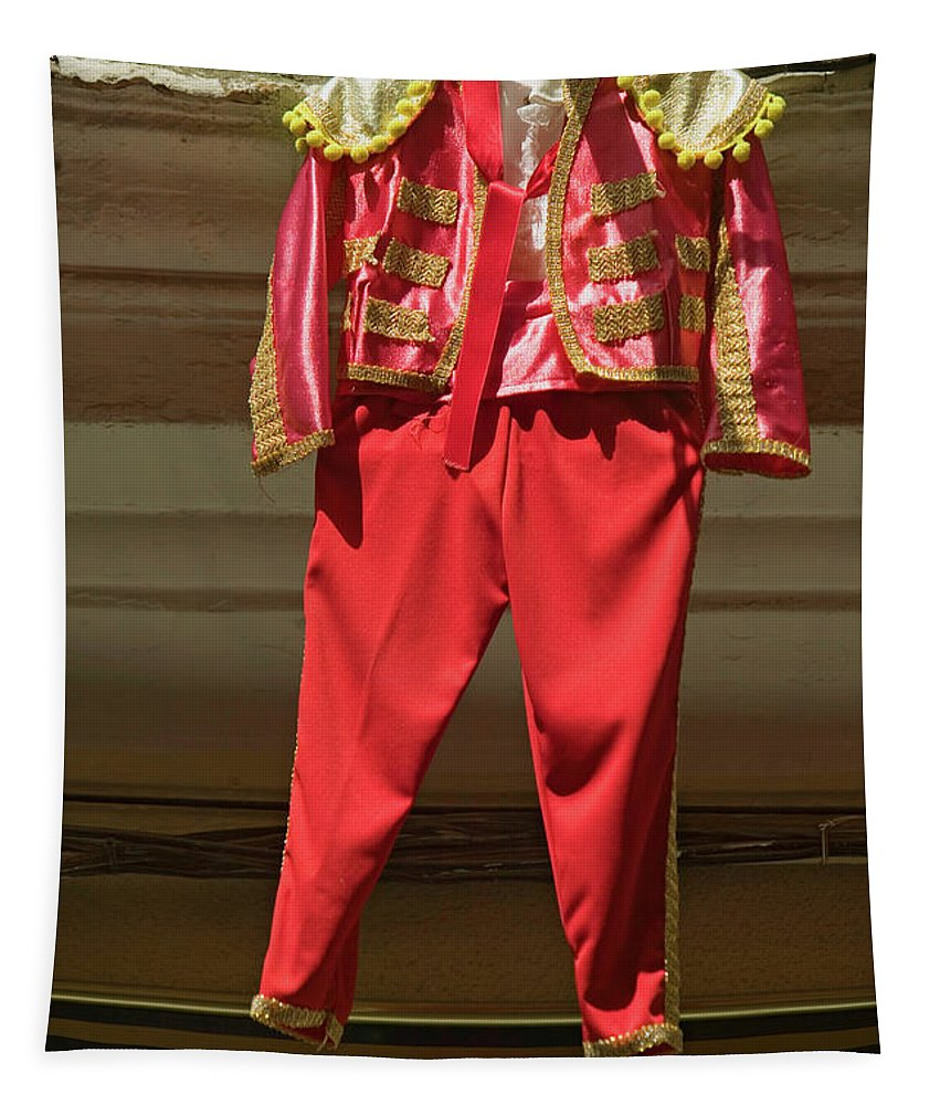 Photography Tapestry featuring the photograph Red Toreador Bull Fighting Outfit by Panoramic Images