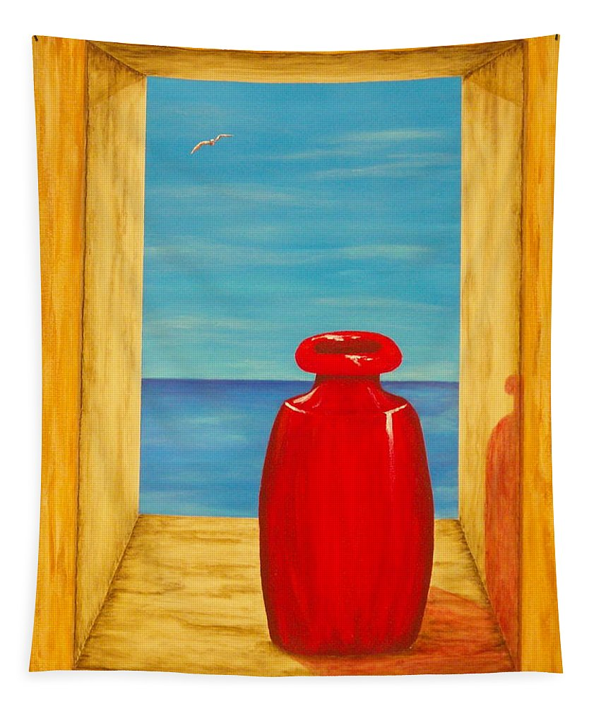 Pamela Allegretto Tapestry featuring the painting Red Vase by Pamela Allegretto