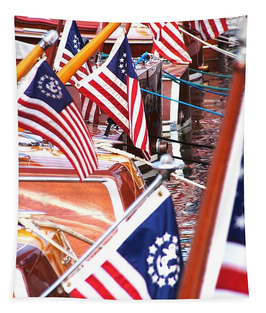 Chris Craft Tapestry featuring the photograph Red White And Blue by Neil Zimmerman