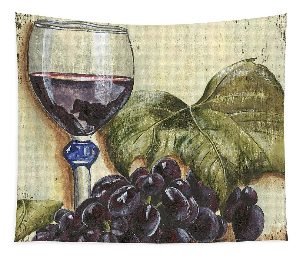 Wine Tapestry featuring the painting Red Wine And Grape Leaf by Debbie DeWitt