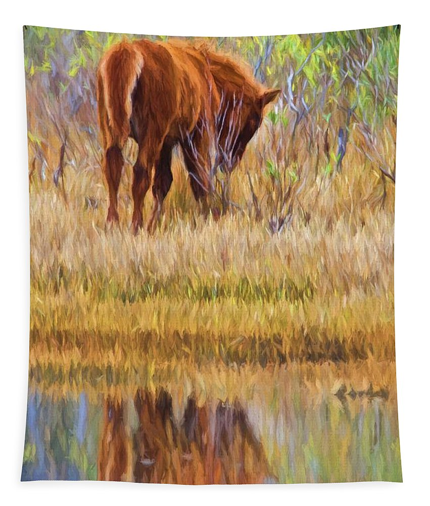 Chincoteague Colt Tapestry featuring the photograph Reflecting Foal by Alice Gipson